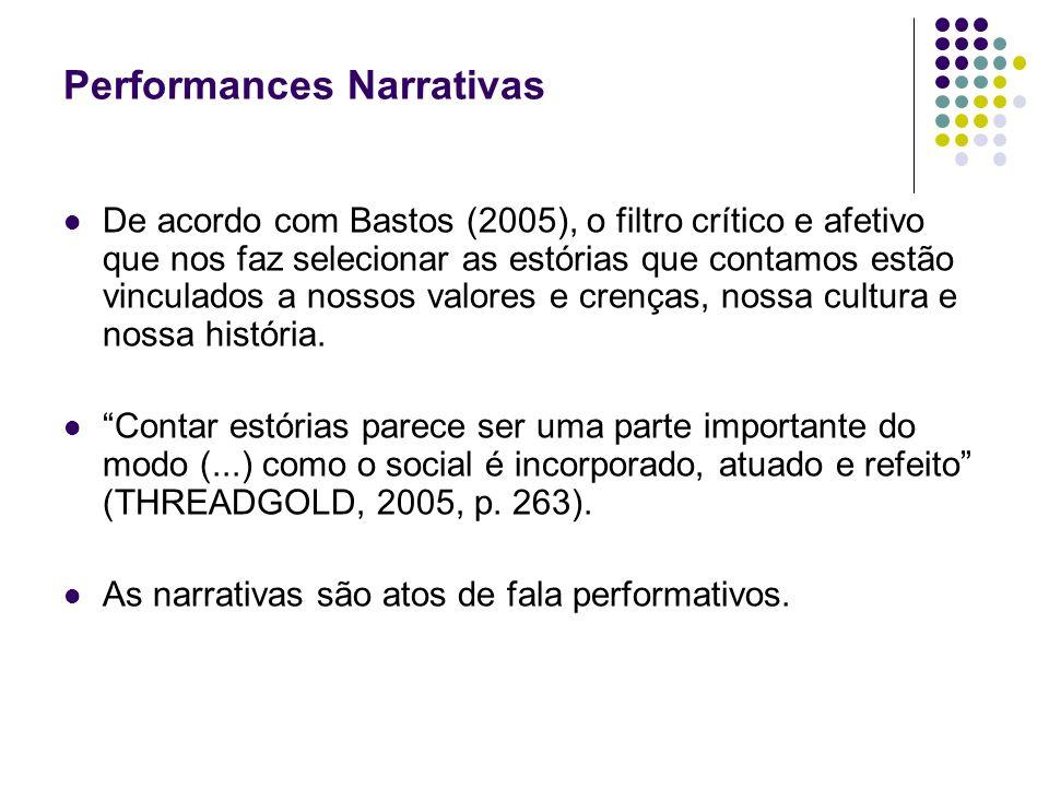Performances Narrativas De acordo com Bastos (2005), o filtro crítico e afetivo que nos faz selecionar as estórias que contamos estão vinculados a nos