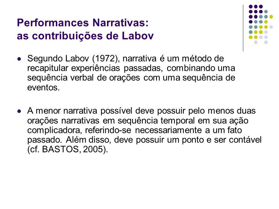 Performances Narrativas: as contribuições de Labov Segundo Labov (1972), narrativa é um método de recapitular experiências passadas, combinando uma se