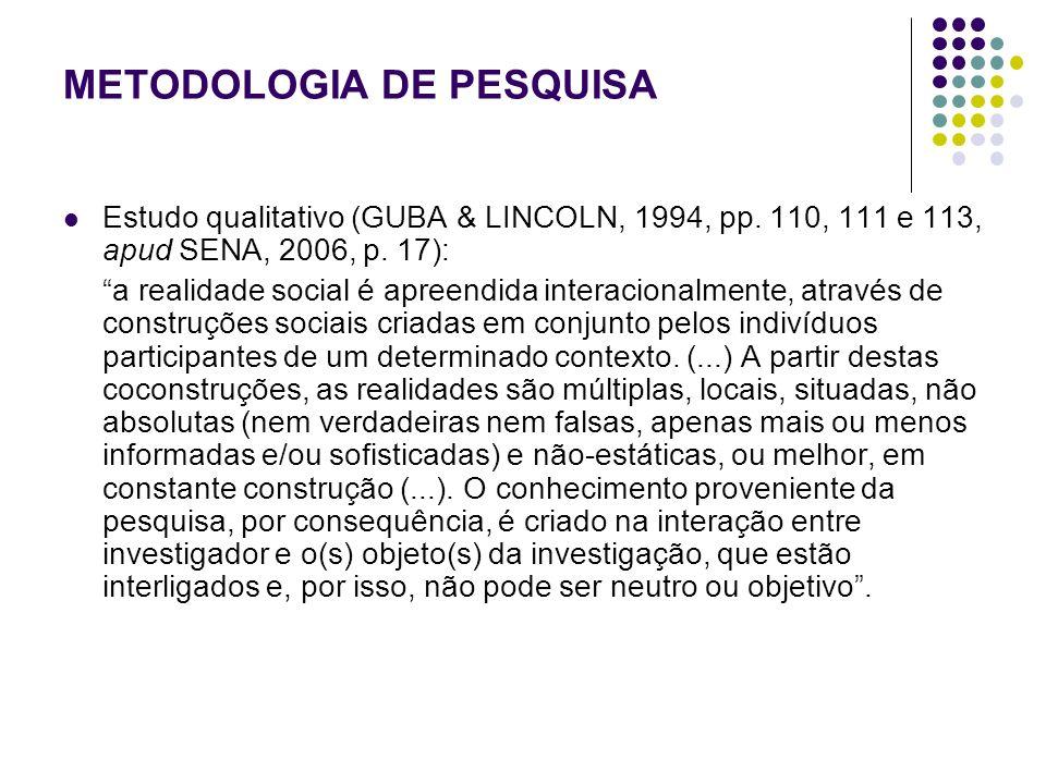 METODOLOGIA DE PESQUISA Estudo qualitativo (GUBA & LINCOLN, 1994, pp. 110, 111 e 113, apud SENA, 2006, p. 17): a realidade social é apreendida interac
