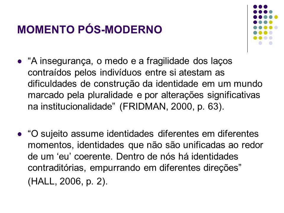MOMENTO PÓS-MODERNO Processo de racionalização (TOURAINE, 1994, apud FRIDMAN, 2000) – o indivíduo, enquanto ser racional, busca a eficiência, a determinação de um padrão normativo.