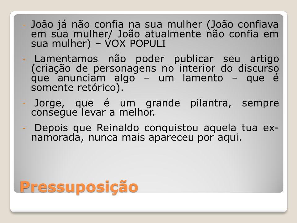 Pressuposição - João já não confia na sua mulher (João confiava em sua mulher/ João atualmente não confia em sua mulher) – VOX POPULI - Lamentamos não