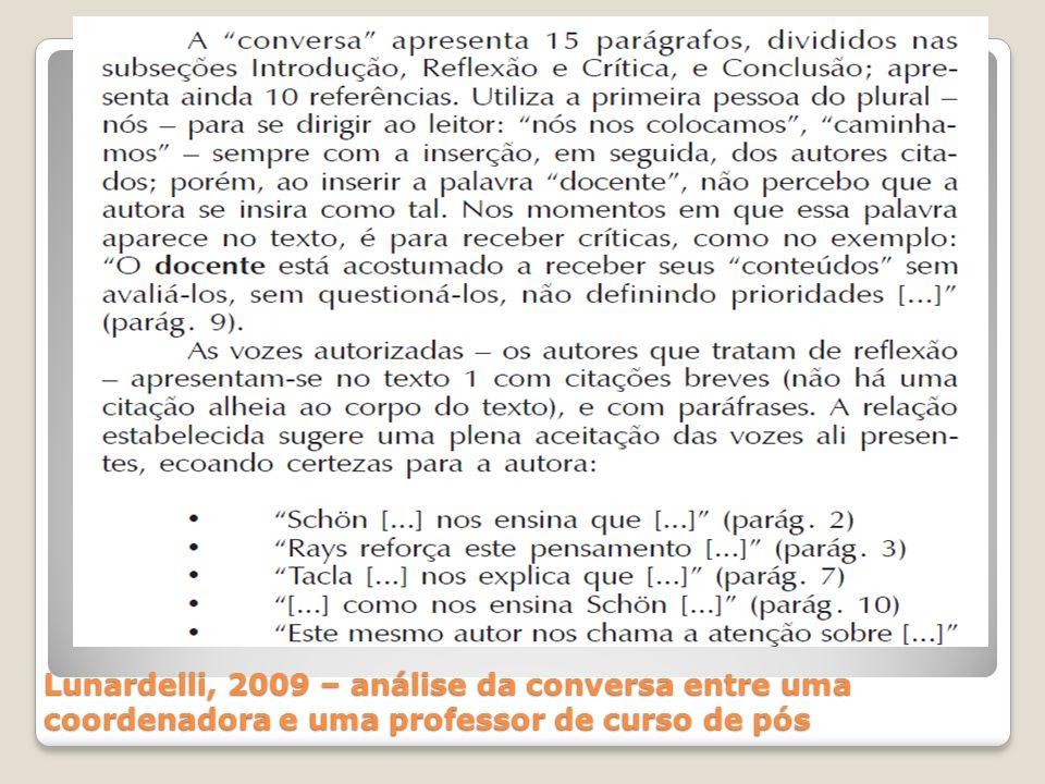 Lunardelli, 2009 – análise da conversa entre uma coordenadora e uma professor de curso de pós