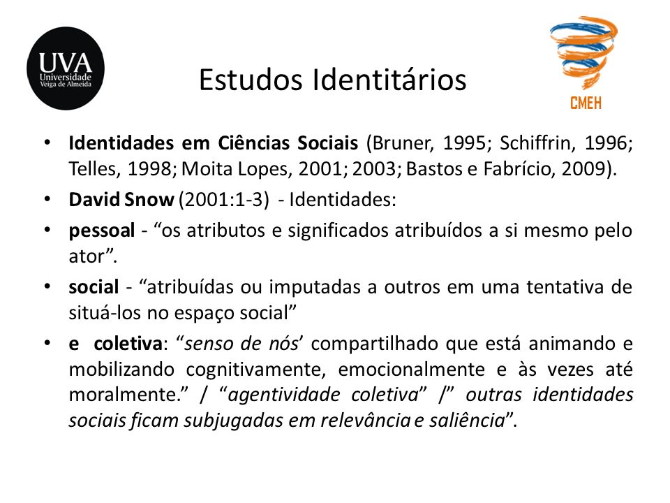 Estudos Identitários Identidades em Ciências Sociais (Bruner, 1995; Schiffrin, 1996; Telles, 1998; Moita Lopes, 2001; 2003; Bastos e Fabrício, 2009).