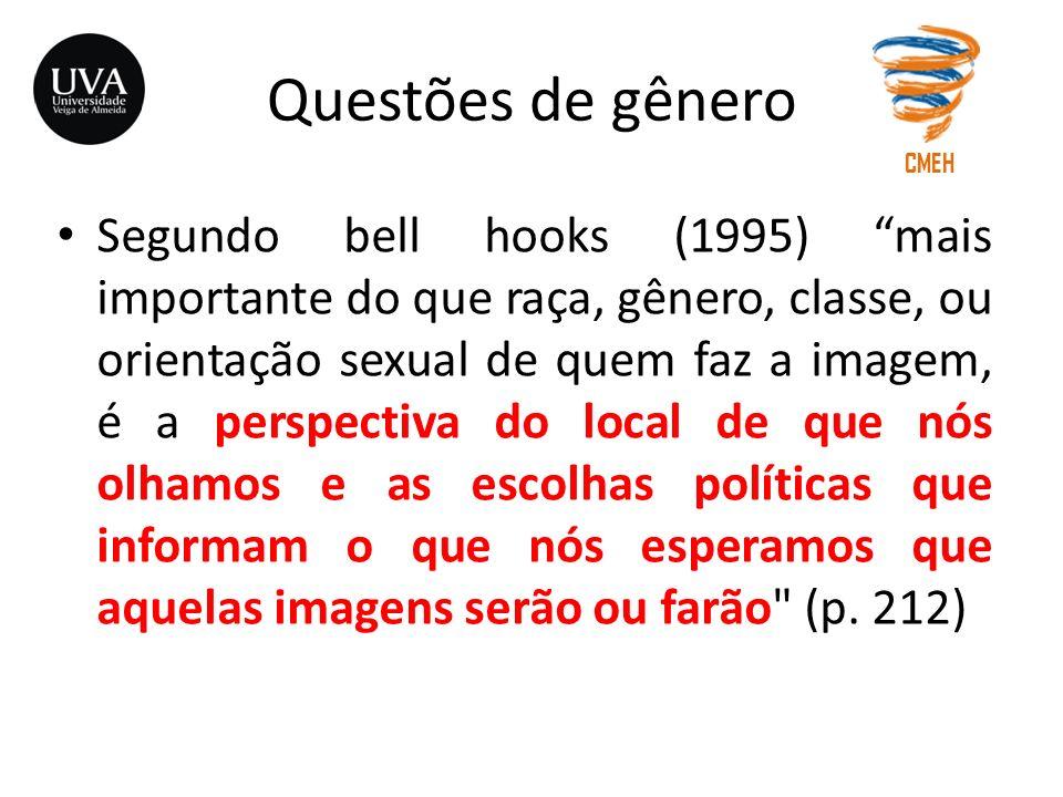 Questões de gênero Segundo bell hooks (1995) mais importante do que raça, gênero, classe, ou orientação sexual de quem faz a imagem, é a perspectiva d