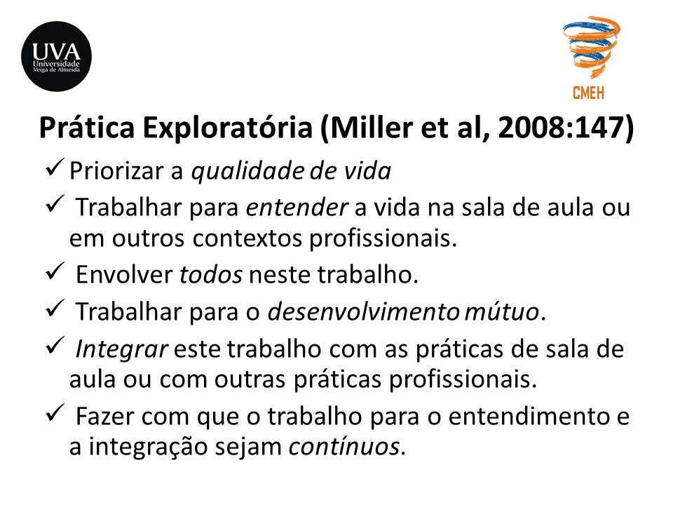 Prática Exploratória (Miller et al, 2008:147) Priorizar a qualidade de vida Trabalhar para entender a vida na sala de aula ou em outros contextos prof