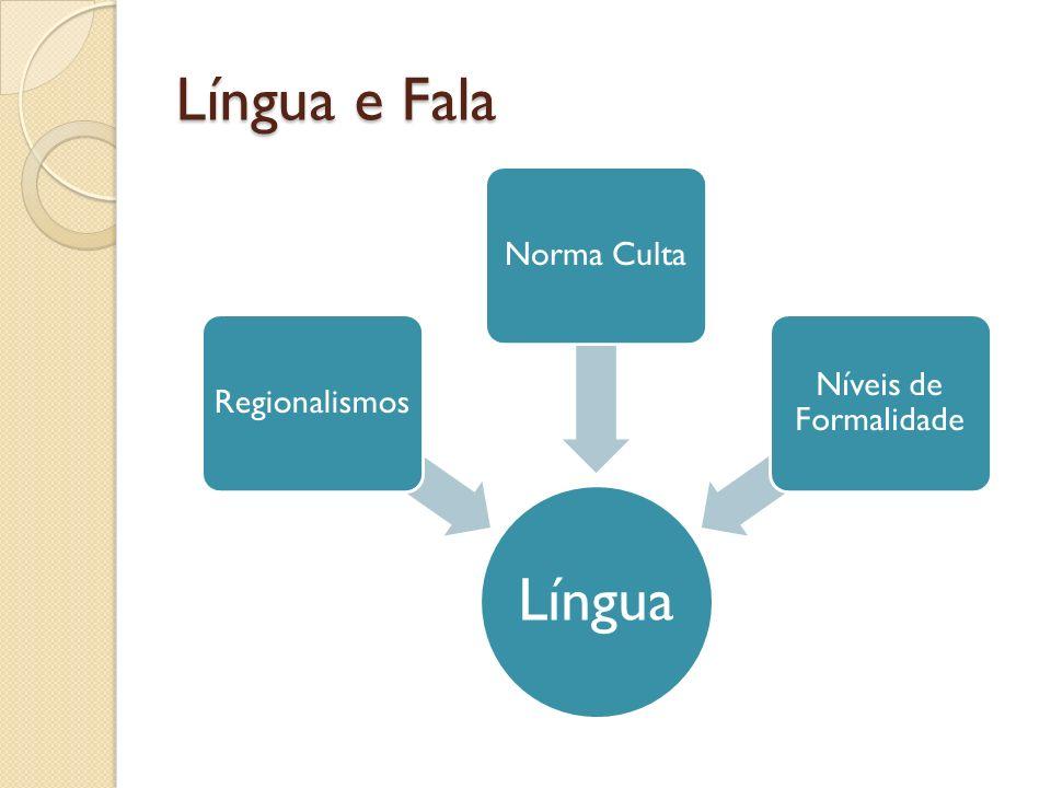 Língua e Fala Língua RegionalismosNorma Culta Níveis de Formalidade