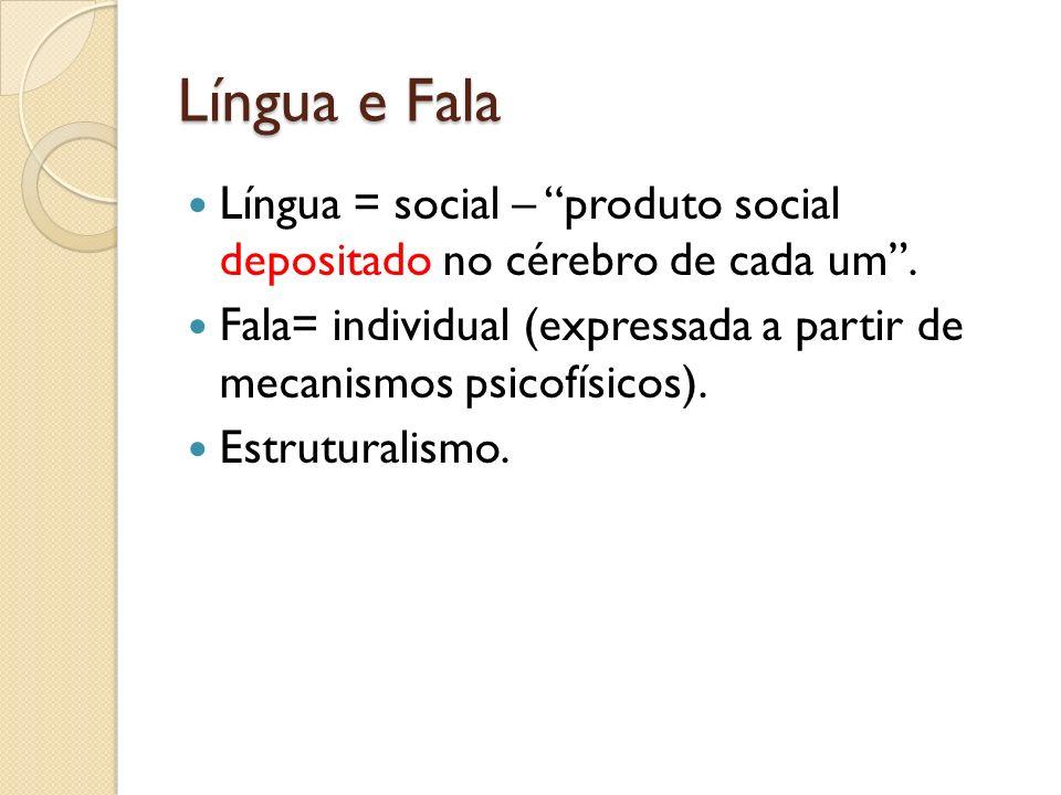 Língua e Fala Língua = social – produto social depositado no cérebro de cada um. Fala= individual (expressada a partir de mecanismos psicofísicos). Es