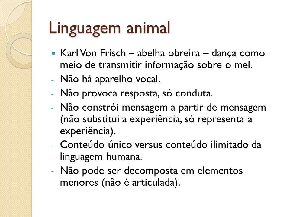 Linguagem animal Karl Von Frisch – abelha obreira – dança como meio de transmitir informação sobre o mel. - Não há aparelho vocal. - Não provoca respo