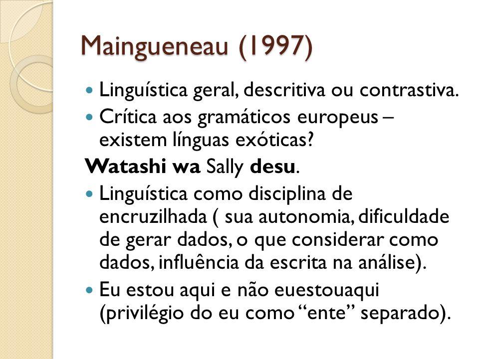 Maingueneau (1997) Linguística geral, descritiva ou contrastiva. Crítica aos gramáticos europeus – existem línguas exóticas? Watashi wa Sally desu. Li