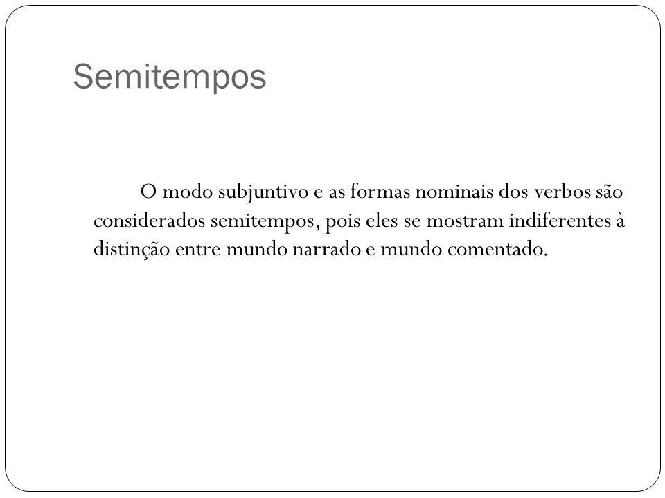 Semitempos O modo subjuntivo e as formas nominais dos verbos são considerados semitempos, pois eles se mostram indiferentes à distinção entre mundo na
