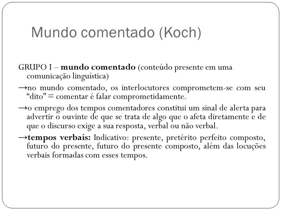 Mundo comentado (Koch) GRUPO I – mundo comentado (conteúdo presente em uma comunicação linguística) no mundo comentado, os interlocutores comprometem-