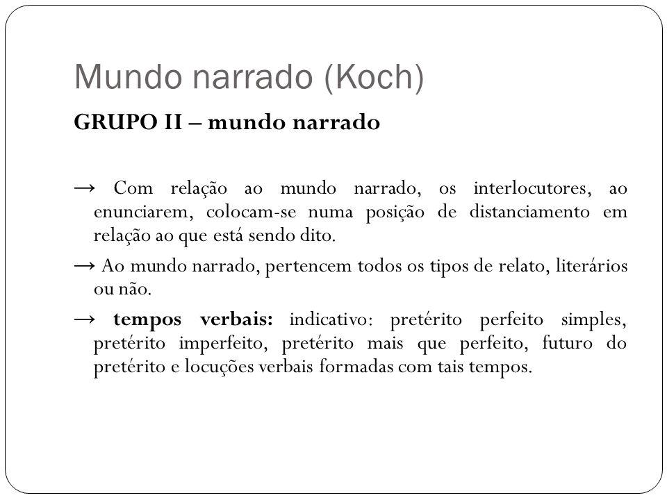 Mundo narrado (Koch) GRUPO II – mundo narrado Com relação ao mundo narrado, os interlocutores, ao enunciarem, colocam-se numa posição de distanciament