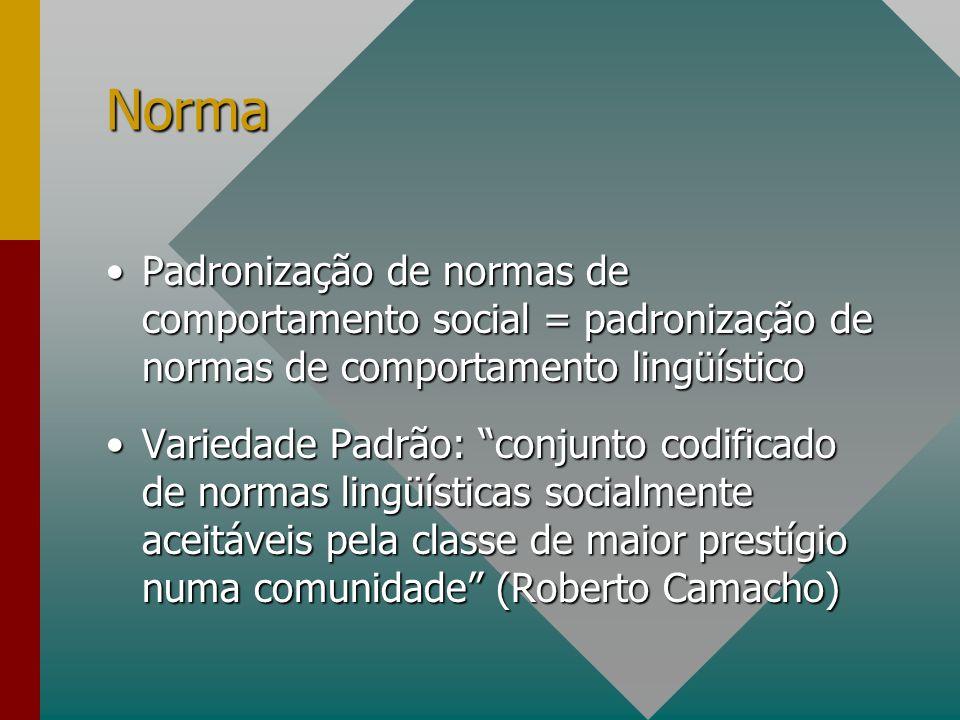Norma Padronização de normas de comportamento social = padronização de normas de comportamento lingüísticoPadronização de normas de comportamento soci