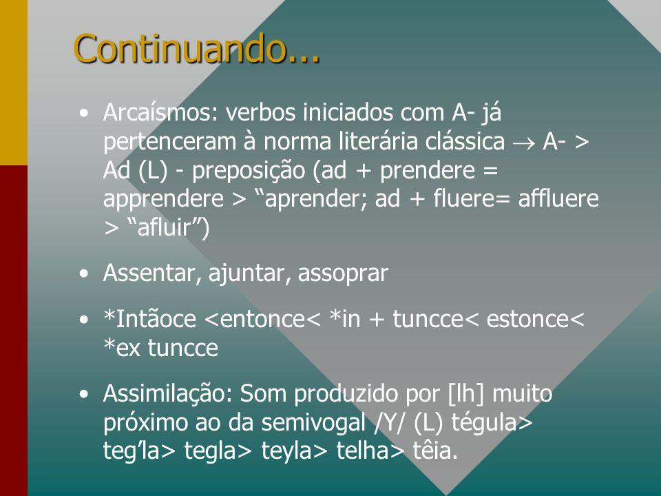 Continuando... Arcaísmos: verbos iniciados com A- já pertenceram à norma literária clássica A- > Ad (L) - preposição (ad + prendere = apprendere > apr
