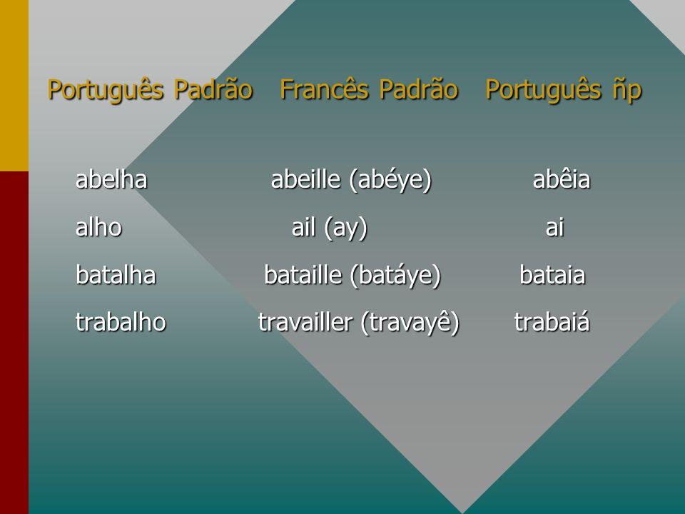 Português Padrão Francês Padrão Português ñp abelha abeille (abéye) abêia alho ail (ay) ai batalha bataille (batáye) bataia trabalho travailler (trava