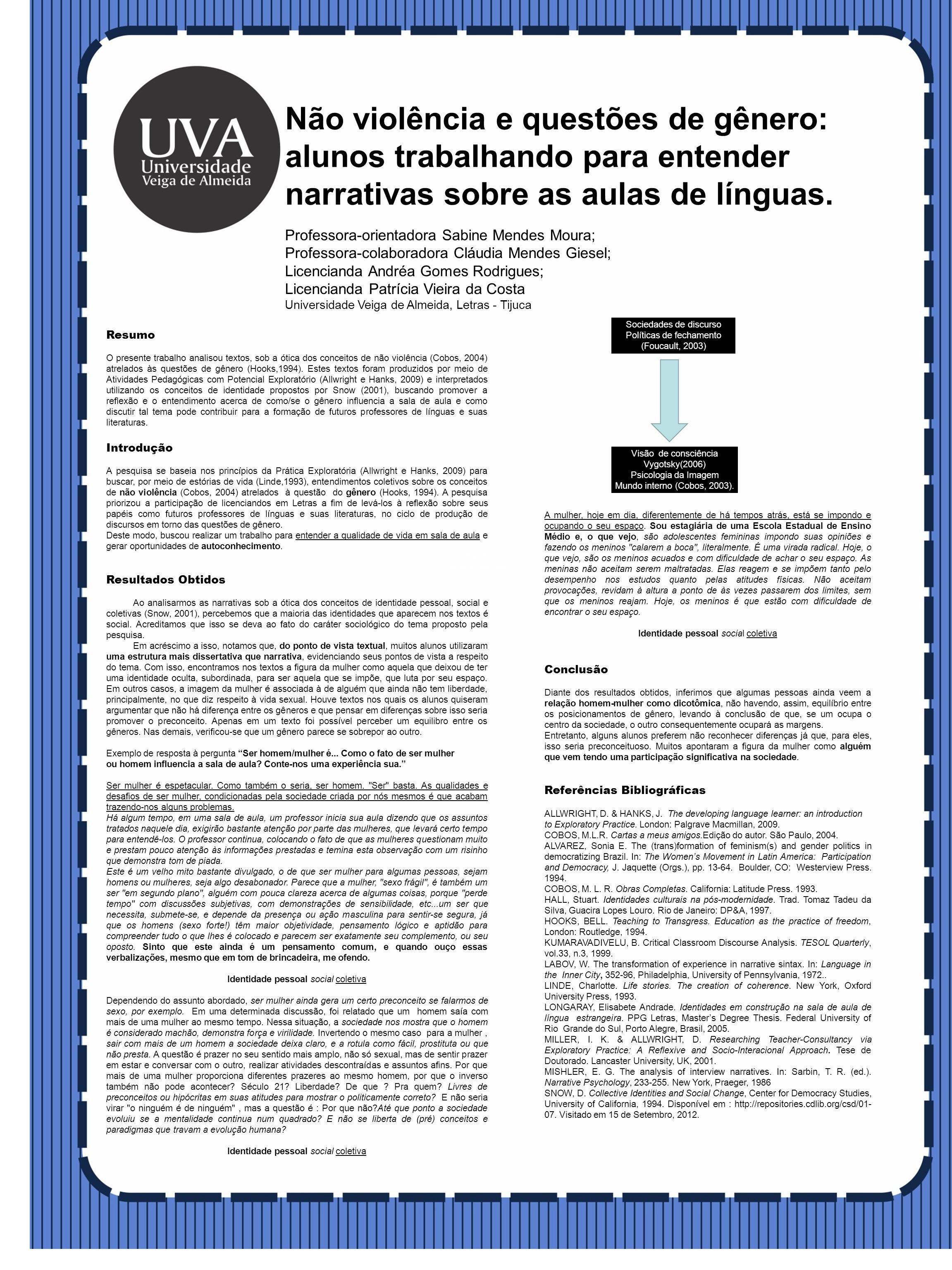 Resumo O presente trabalho analisou textos, sob a ótica dos conceitos de não violência (Cobos, 2004) atrelados às questões de gênero (Hooks,1994).