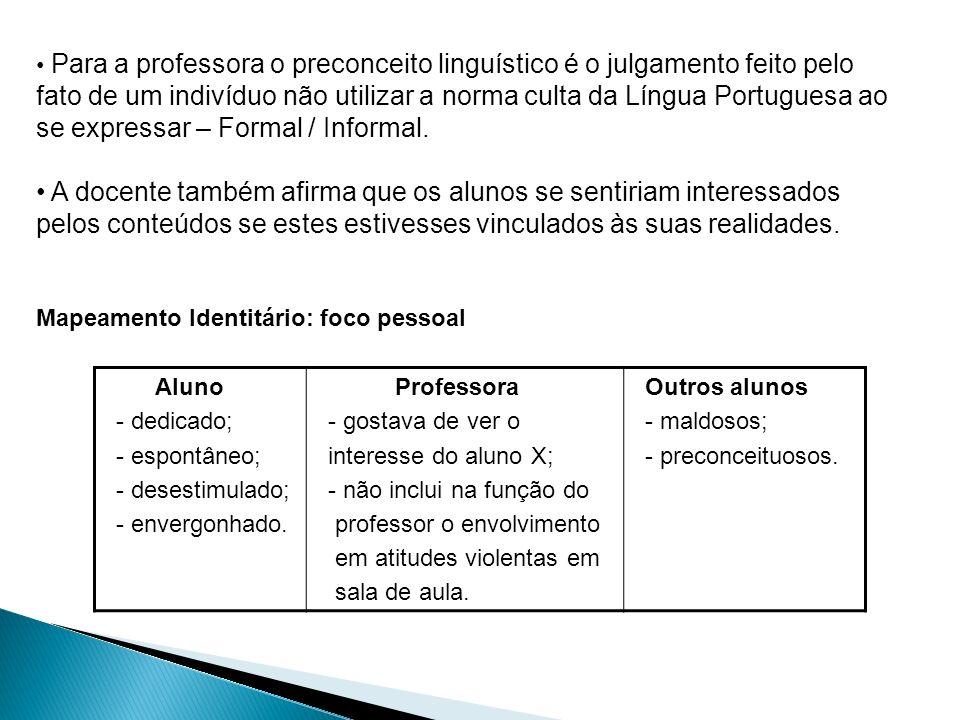 Para a professora o preconceito linguístico é o julgamento feito pelo fato de um indivíduo não utilizar a norma culta da Língua Portuguesa ao se expre