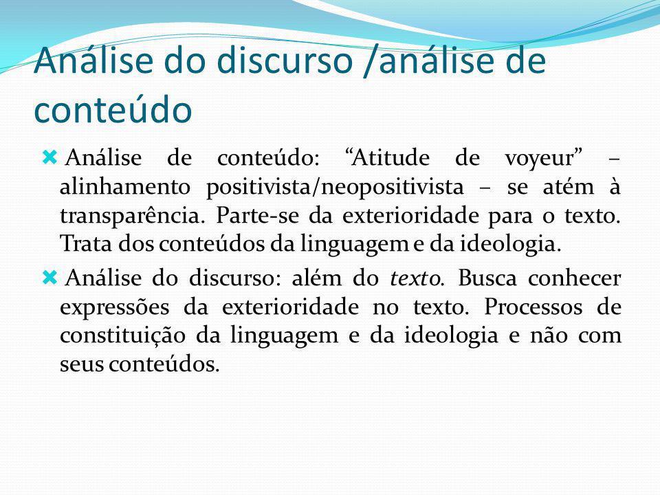 Análise do discurso /análise de conteúdo Análise de conteúdo: Atitude de voyeur – alinhamento positivista/neopositivista – se atém à transparência. Pa