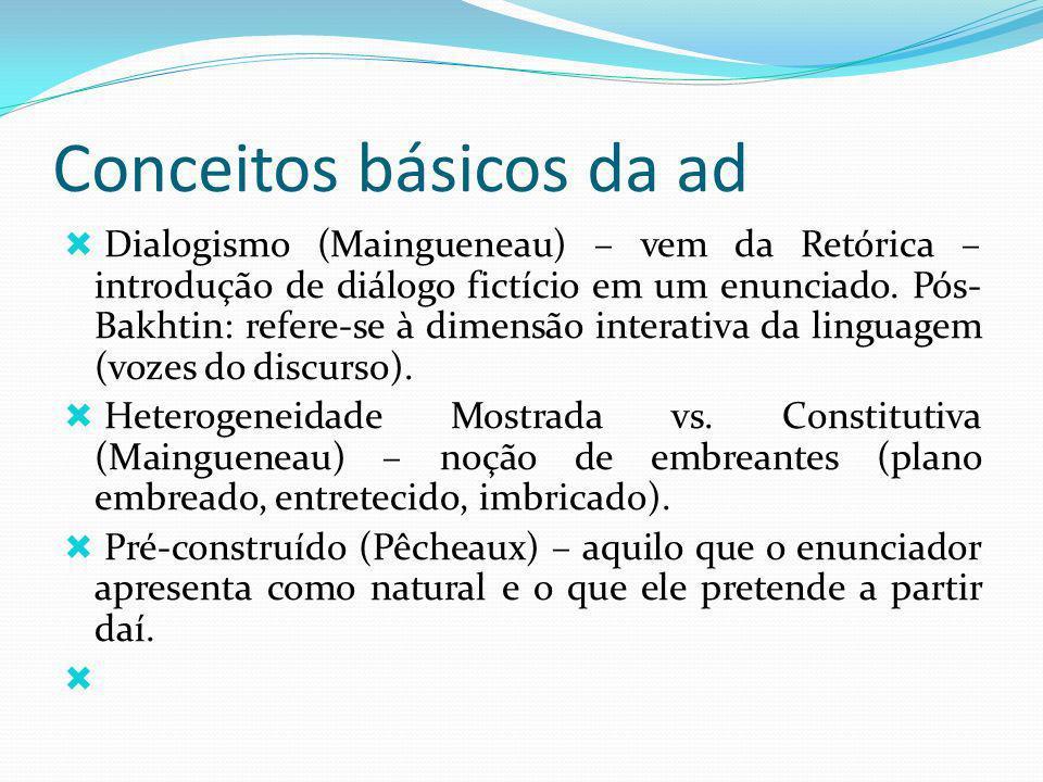 Conceitos básicos da ad Dialogismo (Maingueneau) – vem da Retórica – introdução de diálogo fictício em um enunciado. Pós- Bakhtin: refere-se à dimensã