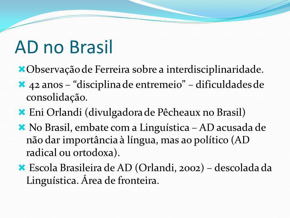 AD no Brasil Observação de Ferreira sobre a interdisciplinaridade. 42 anos – disciplina de entremeio – dificuldades de consolidação. Eni Orlandi (divu