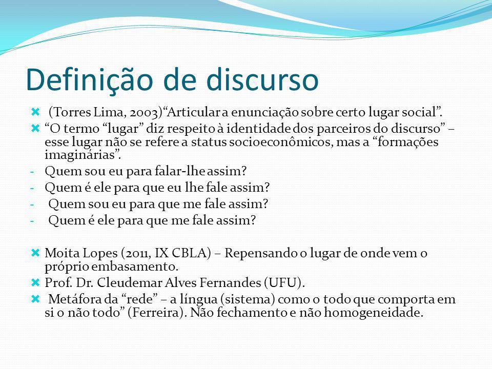 Definição de discurso (Torres Lima, 2003)Articular a enunciação sobre certo lugar social.
