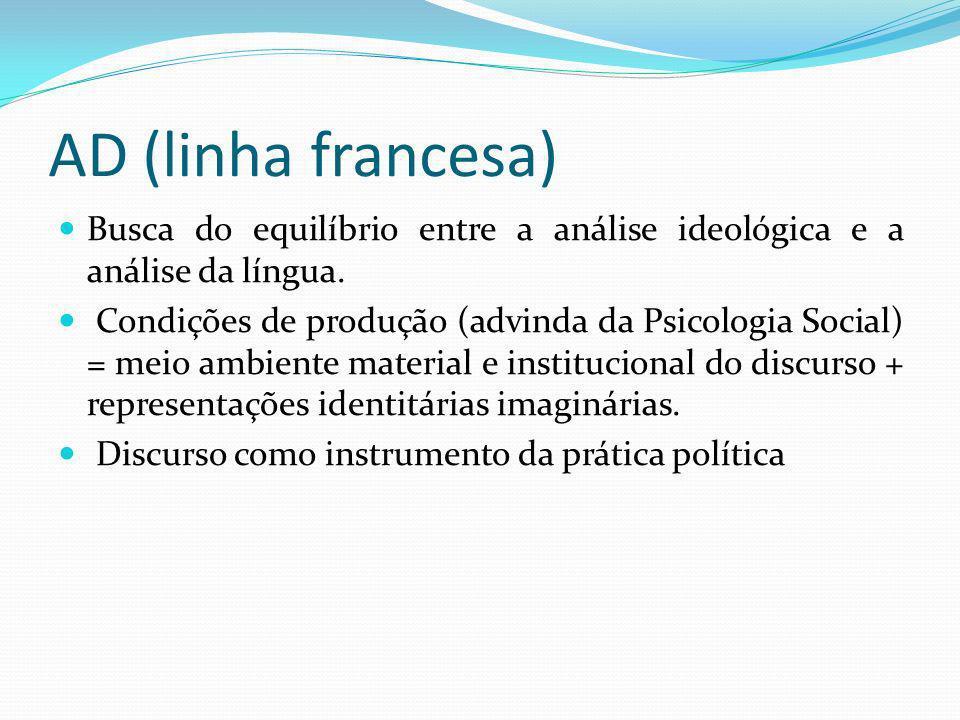 AD (linha francesa) Busca do equilíbrio entre a análise ideológica e a análise da língua. Condições de produção (advinda da Psicologia Social) = meio