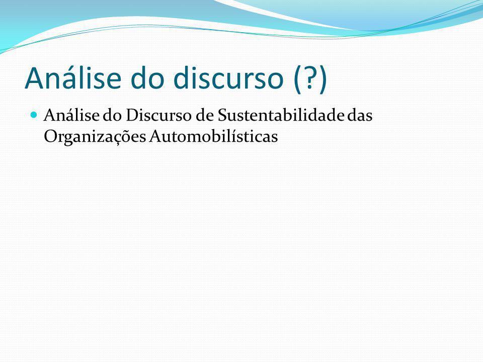 Análise do discurso (?) Análise do Discurso de Sustentabilidade das Organizações Automobilísticas