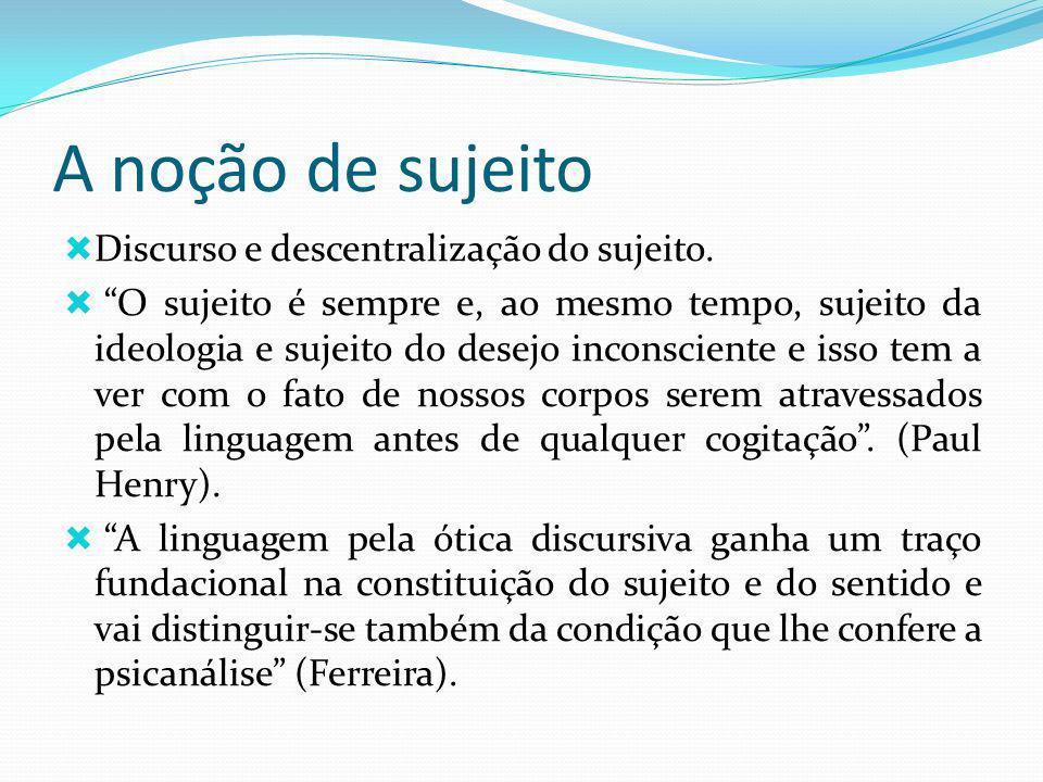 A noção de sujeito Discurso e descentralização do sujeito.