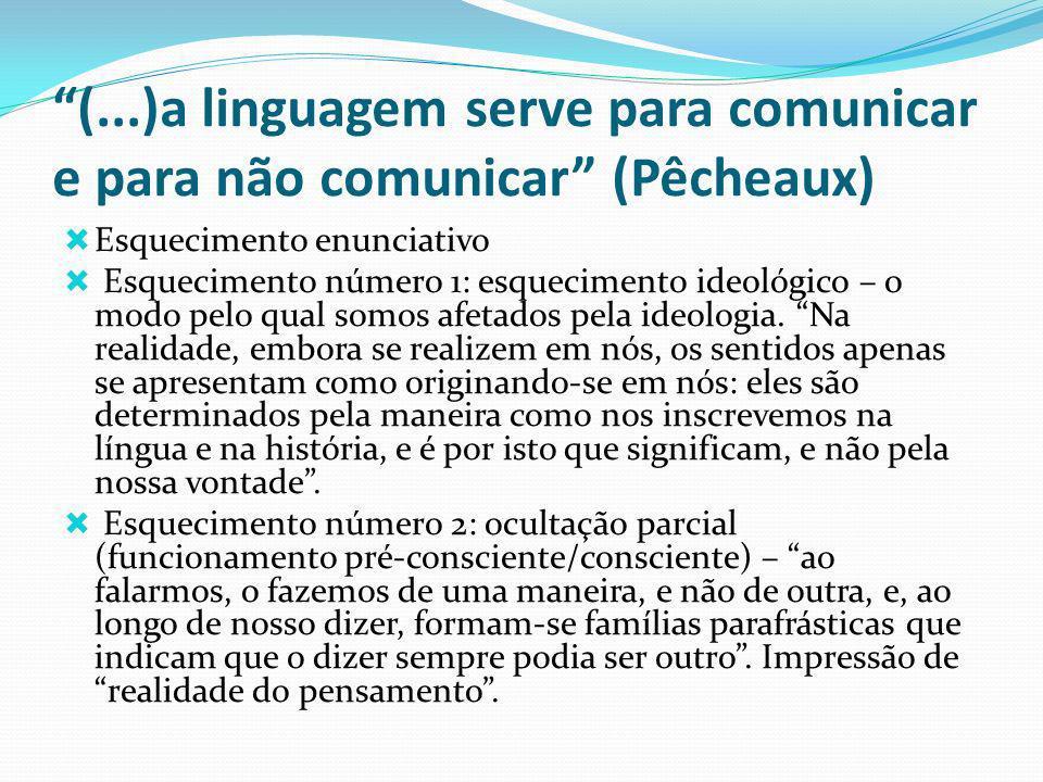 (...)a linguagem serve para comunicar e para não comunicar (Pêcheaux) Esquecimento enunciativo Esquecimento número 1: esquecimento ideológico – o modo pelo qual somos afetados pela ideologia.