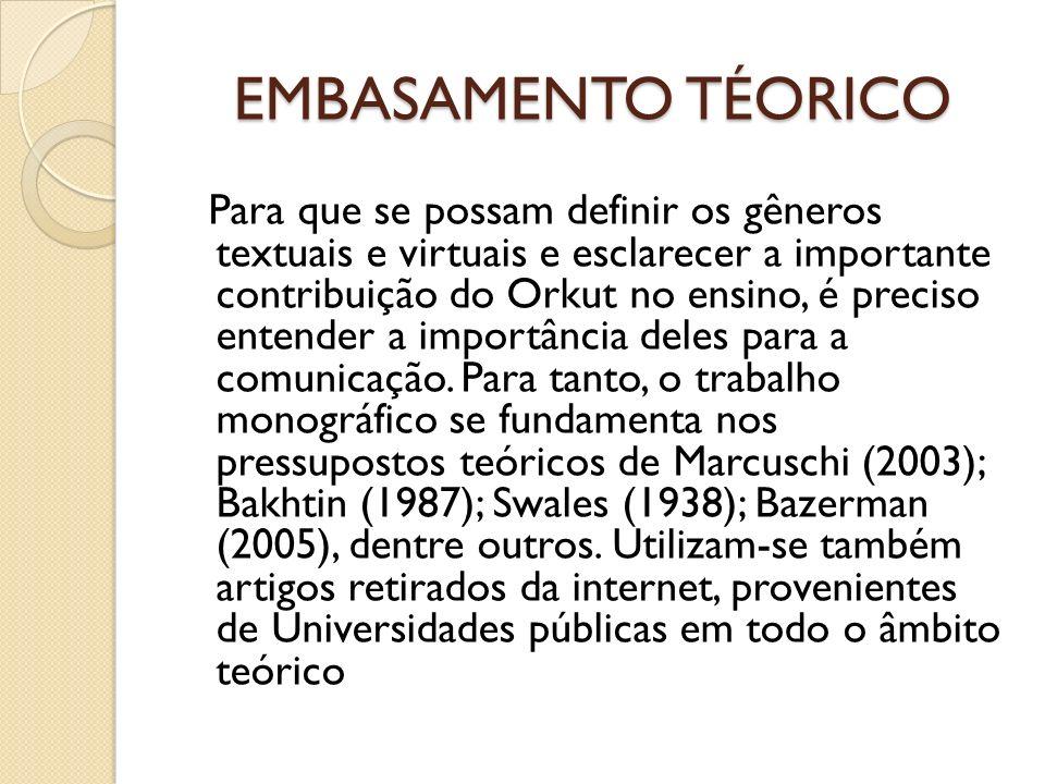 METODOLOGIA O projeto foi realizado com 10 estudantes de uma escola de ensino fundamental da rede municipal,no período dos meses de abril e maio de 2011, baseado nos conceitos de comunicação síncrona/assíncrona e comunicação grupal e bilateral (MARCUSCHI, 2004) e nativos e imigrantes digitais (PRENSKY, apud COUTINHO & FARBIARZ e BRAZ, 2010).