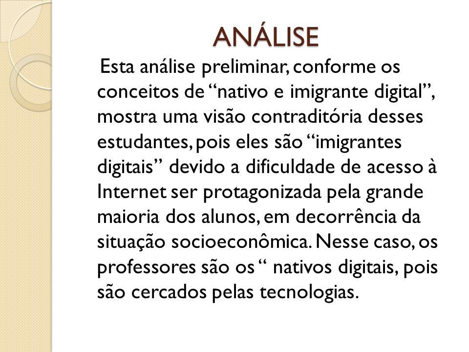 ANÁLISE Esta análise preliminar, conforme os conceitos de nativo e imigrante digital, mostra uma visão contraditória desses estudantes, pois eles são