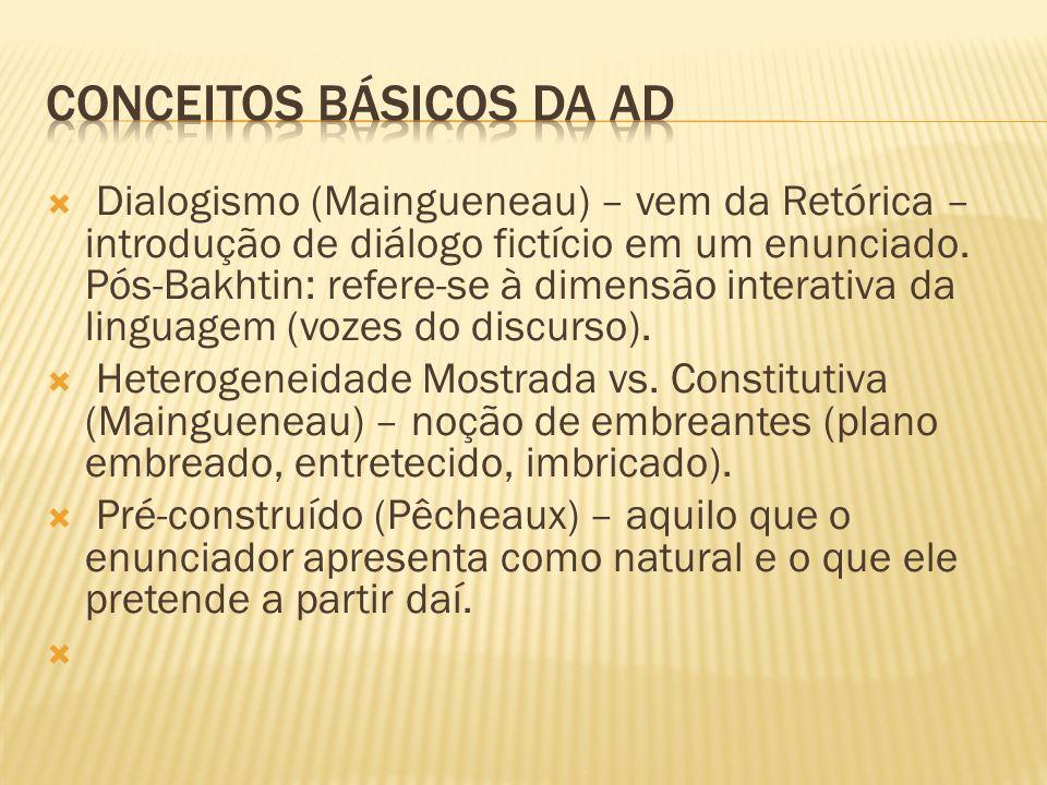 Dialogismo (Maingueneau) – vem da Retórica – introdução de diálogo fictício em um enunciado. Pós-Bakhtin: refere-se à dimensão interativa da linguagem