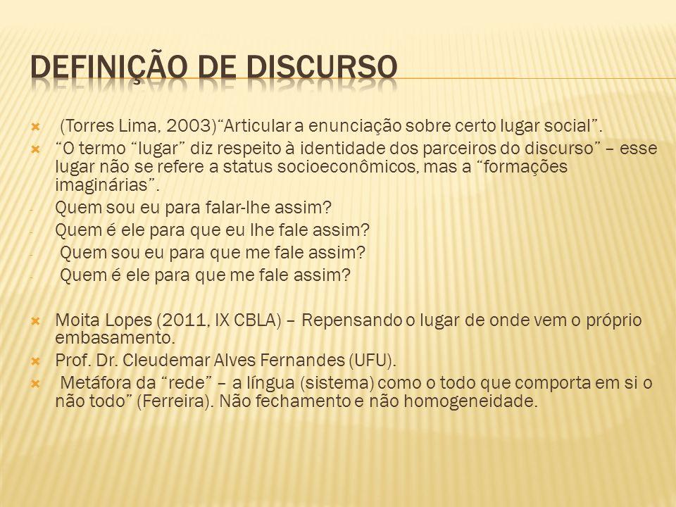 (Torres Lima, 2003)Articular a enunciação sobre certo lugar social. O termo lugar diz respeito à identidade dos parceiros do discurso – esse lugar não