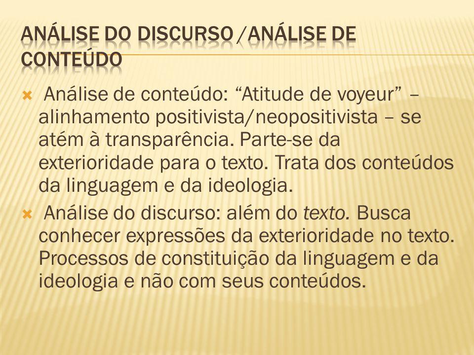 Análise de conteúdo: Atitude de voyeur – alinhamento positivista/neopositivista – se atém à transparência. Parte-se da exterioridade para o texto. Tra
