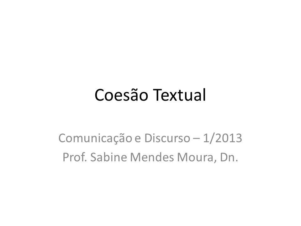 Coesão Textual Comunicação e Discurso – 1/2013 Prof. Sabine Mendes Moura, Dn.