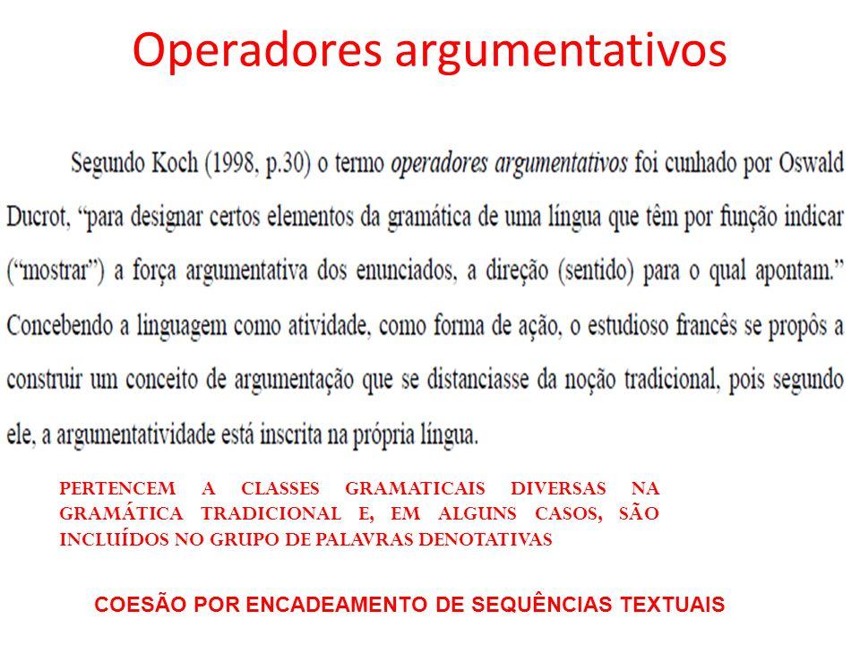 Operadores argumentativos PERTENCEM A CLASSES GRAMATICAIS DIVERSAS NA GRAMÁTICA TRADICIONAL E, EM ALGUNS CASOS, SÃO INCLUÍDOS NO GRUPO DE PALAVRAS DEN