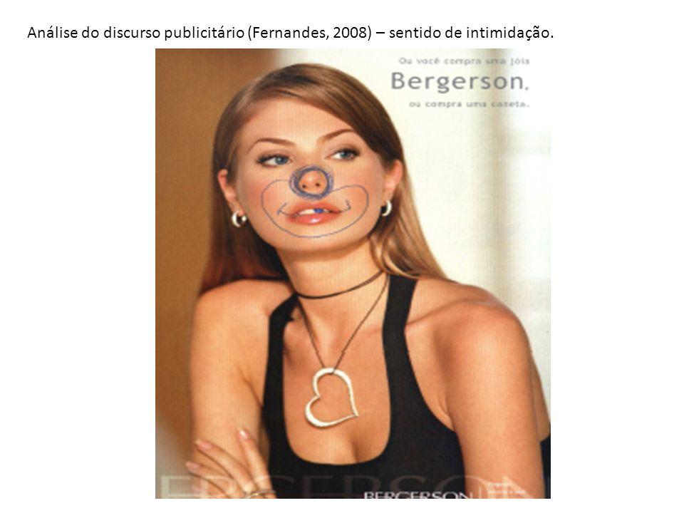 Análise do discurso publicitário (Fernandes, 2008) – sentido de intimidação.