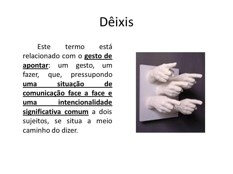 Dêixis Este termo está relacionado com o gesto de apontar: um gesto, um fazer, que, pressupondo uma situação de comunicação face a face e uma intencio