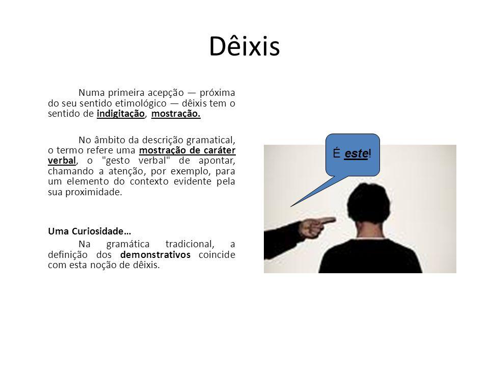 Dêixis Numa primeira acepção próxima do seu sentido etimológico dêixis tem o sentido de indigitação, mostração. No âmbito da descrição gramatical, o t