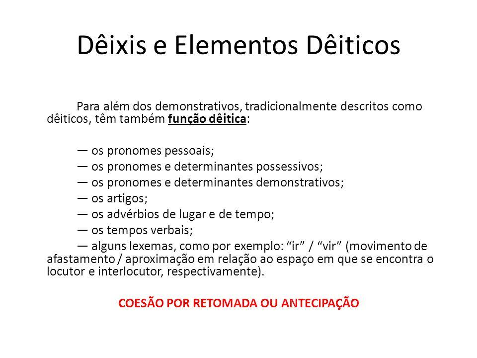 Dêixis e Elementos Dêiticos Para além dos demonstrativos, tradicionalmente descritos como dêiticos, têm também função dêitica: os pronomes pessoais; o