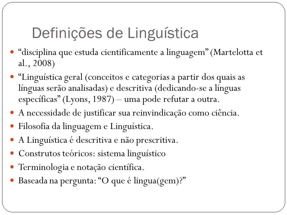 Definições de Linguística disciplina que estuda cientificamente a linguagem (Martelotta et al., 2008) Linguística geral (conceitos e categorias a part