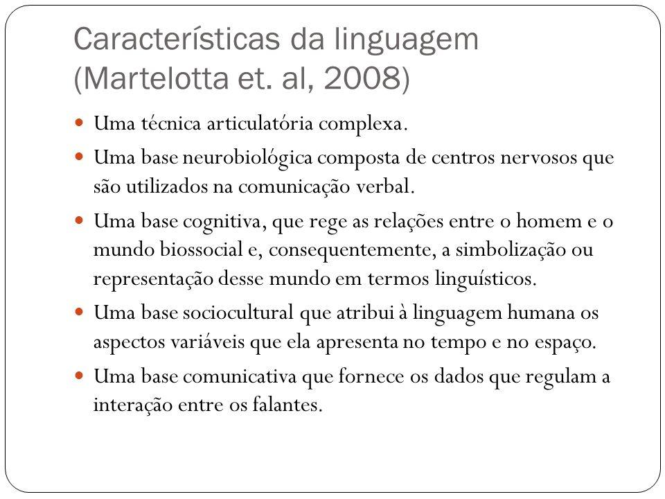 Características da linguagem (Martelotta et. al, 2008) Uma técnica articulatória complexa. Uma base neurobiológica composta de centros nervosos que sã