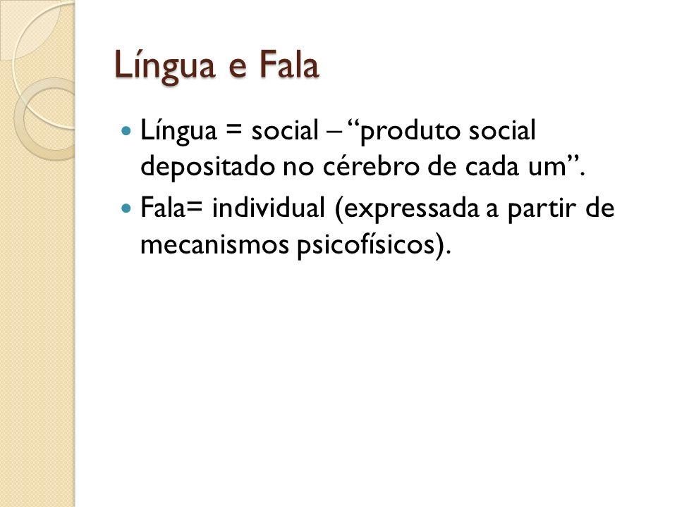 Língua e Fala Língua = social – produto social depositado no cérebro de cada um. Fala= individual (expressada a partir de mecanismos psicofísicos).