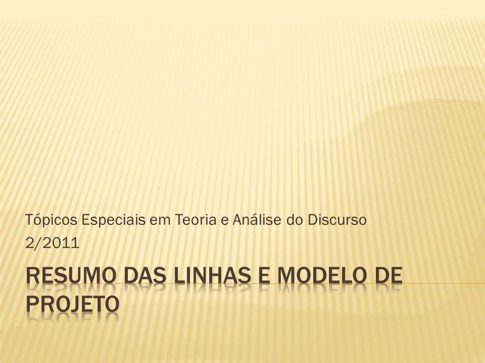 Tópicos Especiais em Teoria e Análise do Discurso 2/2011