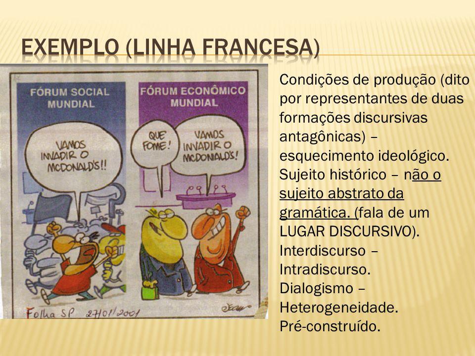 Condições de produção (dito por representantes de duas formações discursivas antagônicas) – esquecimento ideológico.