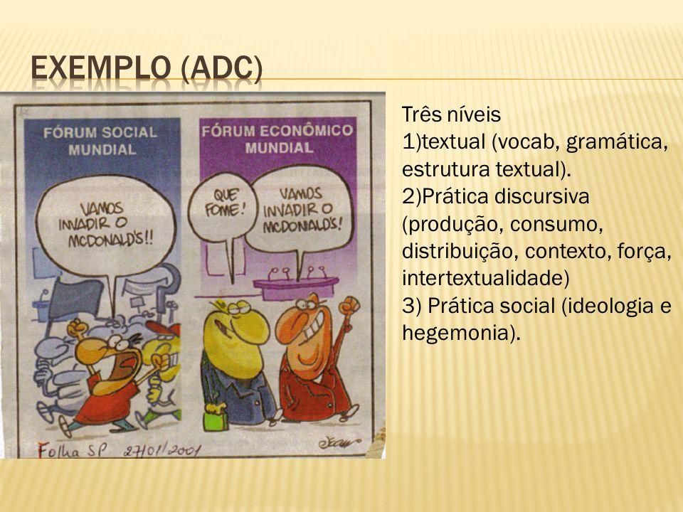 Três níveis 1)textual (vocab, gramática, estrutura textual).