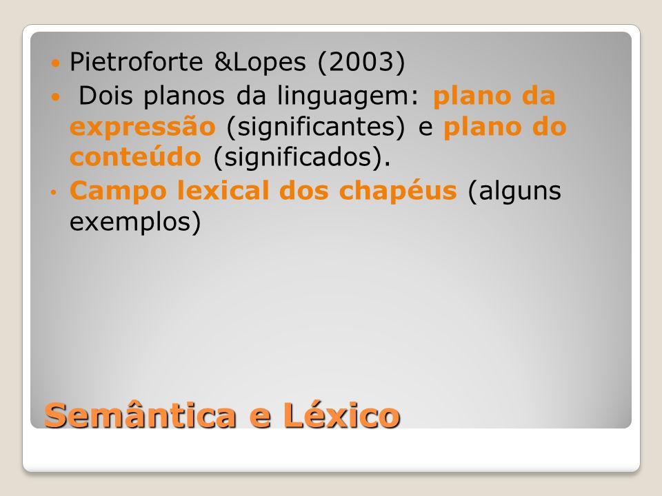 Semântica e Léxico Pietroforte &Lopes (2003) Dois planos da linguagem: plano da expressão (significantes) e plano do conteúdo (significados).