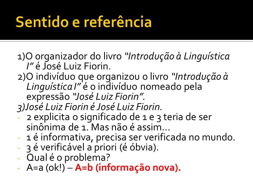 1)O organizador do livro Introdução à Linguística I é José Luiz Fiorin. 2)O indivíduo que organizou o livro Introdução à Linguística I é o indivíduo n