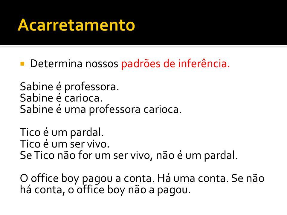 Determina nossos padrões de inferência. Sabine é professora. Sabine é carioca. Sabine é uma professora carioca. Tico é um pardal. Tico é um ser vivo.
