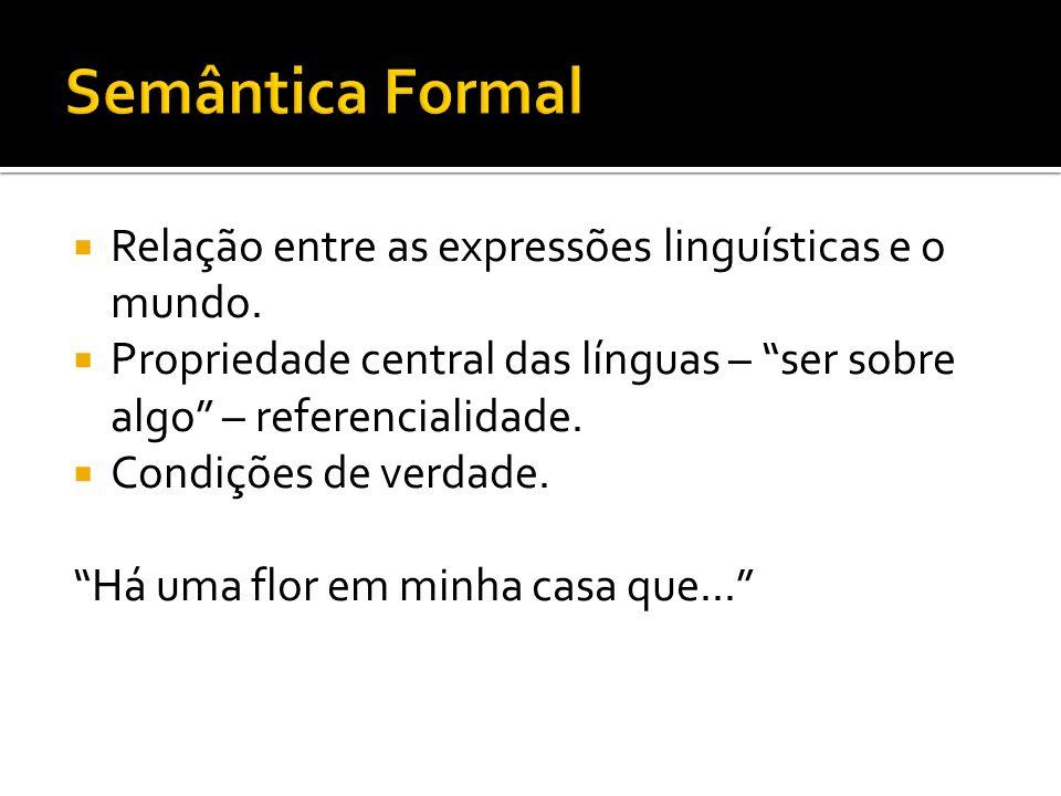 Relação entre as expressões linguísticas e o mundo. Propriedade central das línguas – ser sobre algo – referencialidade. Condições de verdade. Há uma